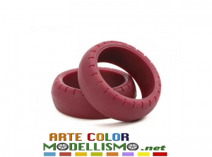 MINI 4WD TAMIYA ITEM 95482 GOMME LARGO DIAM Large Diameter Low Friction Arched Tires Maroon