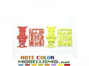MINI 4WD TAMIYA ITEM 95479 Super XX Fluorescent Color CHASSIS set ORANGE / YELLOW ARANCIONE / GIALLO
